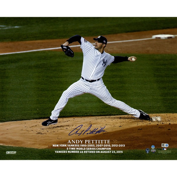 Andy Pettitte Autographed Pettitte Retirement Logo Pitching