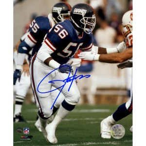 Lawrence-Taylor-Autographed-Blue-Jersey-Vertical-Vs-Bucs-8x10-Photo