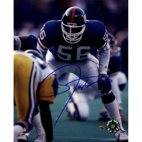 Lawrence Taylor Autographed In Stance with Blue Uniform